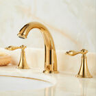 Bath Brass Gold Deck Mounted Three Holes Faucet Double Handles basin Sink tap