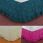"VERSATIL PLAIN DUST RUFFLE AROUND ALL CORNERS 1PC BED BEDDING GYPSY SKIRT 20""NEW image"