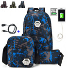 "3pcs Waterproof Travel Backpack Men 15""Laptop USB multifunction Outdoor School"