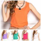 Women Solid 1PC Chiffon Loose Top Shirts Soft Sleeveless Blouse O-neck Tank Tops