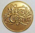"Merry ChrIstmas 1"" Antique Gold Finish Lapel Pins"