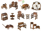 Wood Wagon Wheel Themed Garden Furniture Chair Bench Table Planter Barrel Decor
