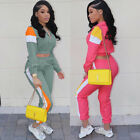 Women Long Sleeves Colors Patchwork Zipper Casual Sports Jumpsuits Tracksuit 2pc