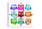 WALL CLOCK - CLOCK ON GLASS Owls Colorful Kids drawing 2880 UK