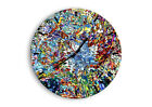 WALL CLOCK - CLOCK ON GLASS abstraction modern 4045 UK