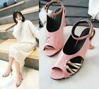 d6a3ca4d7d95 US4.5-10.5 Womens High Kitten Heels Ankle Strap Hollow Out Stilettos  Sandals H45