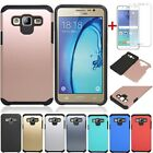 For Samsung Galaxy J7 Neo Shockproof Armor Slim Rubber TPU Case+Screen Protector
