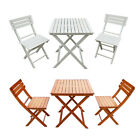Folding Furniture Set Wood Dining Table And 2 Chairs Terrace Garden Bistro Patio