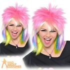 80s Multicoloured Punk Rock Chick Wig Ladies Adult Fancy Dress Costume Accessory