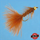 Woolly Bugger BROWN Bead Head Premium Fishing Flies - One Dozen -Select Sizes***