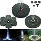 LED Lights Solar Powered Fountain Water Pump Night Floating Garden Bird Bath Kit