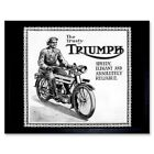 Triumph Motorcycle Vintage Uk Vintage Advertising Retro 12X16 Inch Framed Print $10.49 USD on eBay
