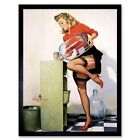 Painting Portrait Water Bottle Pin Up Girl Fountain Usa 12X16 Inch Framed Print