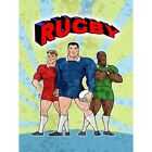 Painting Sport Cartoon Rugby Football Players Ball Sun Stressed Framed Art Print