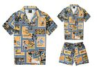 Father Son Matching Cotton Men Shirt and Boy Cabana Set in Grey Yellow Patch