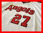 MIKE TROUT LA LOS ANGELES ANAHEIM ANGELS RETRO STITCHED JERSEY WHITE M L XL 2XL