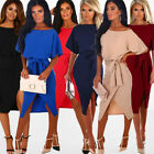 Womens Summer Short Sleeve Wrap Dress Ladies Plain Tie Wasit Slim Midi Dresses