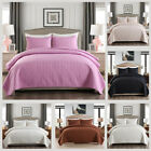 3 Piece Comfortable Quilt Set With Pillow Shams Bedspread Bedding Coverlet K/Q image