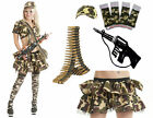 NEW ADULT CAMOUFLAGE ARMY TUTU SHRUG WRIST BULLET FANCY DRESS OUTFIT ACCESSORIES