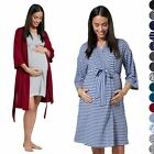 Happy Mama. Women's Maternity Nursing Printed Hospital Dressing Gown Robe. 1000p