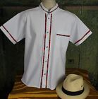 Latin American Men's Guayabera Shirt Bright White Mandarin Collar made in Mexico