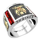 Men's Shriner Two Tone Sterling Silver & Yellow Gold Simulated Ruby Mason Ring