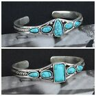 Boho Women Tibetan Silver Green Turquoise Open Bangle Cuff Bracelet Jewelry Gift image