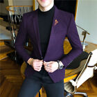 Blue Purple Men's Casual Blazer Jacket Coat Youth Slim Fit Formal Business Stock
