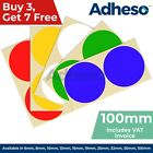 Adheso 100mm Coloured Dot Stickers Round Sticky Dots Adhesive Circles Labels