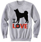 AKITA - I LOVE - NEW COTTON GREY SWEATSHIRT