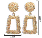 Gold Silver Earrings Statement Drop Hoop Square Boho Trendy Fashion UK Classic