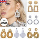 Statement Earrings Gold Silver Large Geometric Uk Fashion Hoop Dangle Square Uk