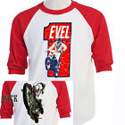 EVEL KNIEVEL ,Snake River era RETRO Baseball, T-Shirt T-803Red