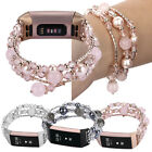 Bling Agate Beads Stretch Bracelet Strap Watch Wrist Band For Fitbit Charge 3 image