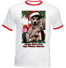 ALASKAN MALAMUTE CHRISTMAS SELFIE - NEW RED RINGER COTTON TSHIRT