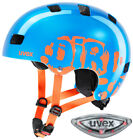 UVEX Kid 3 + LED Kinder Fahrradhelm Blau Orange Scooter Inliner Skate Rad Helm