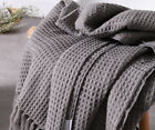 51x67 Soft Knitted Throw Blanket Bed Sofa Couch Decorative Fringe Waffle Pattern image