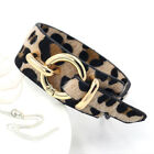 Women's Leopard Print Faux Leather Wrap Bracelet Wristband Adjustable 5 Colors image