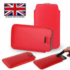 Red Leather Slim Pull Tab Phone Cover Pocket Pouch For Motorola Moto G7 Play