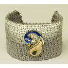 Paisley Charm Macrame Bracelet 0.32ct Pave Diamond Gemstone 18k Yellow Gold