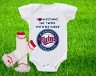 Minnesota Twins Outfit Onesie And Ruffle Leggings Set Watching WIth Daddy on Ebay