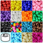 100x Opaque 9x6mm Barrel Plastic Pony Beads - Made in the USA - 28 Color choices