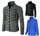 Men Vintage Military Jacket Gothic Rock Victorian Embroidered Frock Coat Uniform