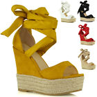 Womens Lace Up Wedge Sandals Ladies High Heel Platform Strappy Peeptoe Shoes