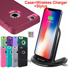 iPhone 6s 7 8 Plus XR XS Max 11 Case Cover Shockproof Hard + Qi Wireless Charger