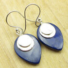 "Lapis Lazuli Free International Shipping Earrings 1.5"" ! Silver Plated Jewelry"