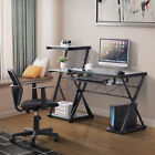 Tempered Glass/ Wood Computer Desk PC Laptop Table Workstation Office Furniture