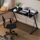 Tempered Glass- Wood Computer Desk PC Laptop Table Workstation Office Furniture