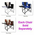 Picnic Camping Director's Chair Full Back 300lbs Side Table Lightweight with Bag