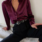 Ladies Faux Silky Office Loose Blouse Career Satin Shirt Womens Top Buttons 8-26